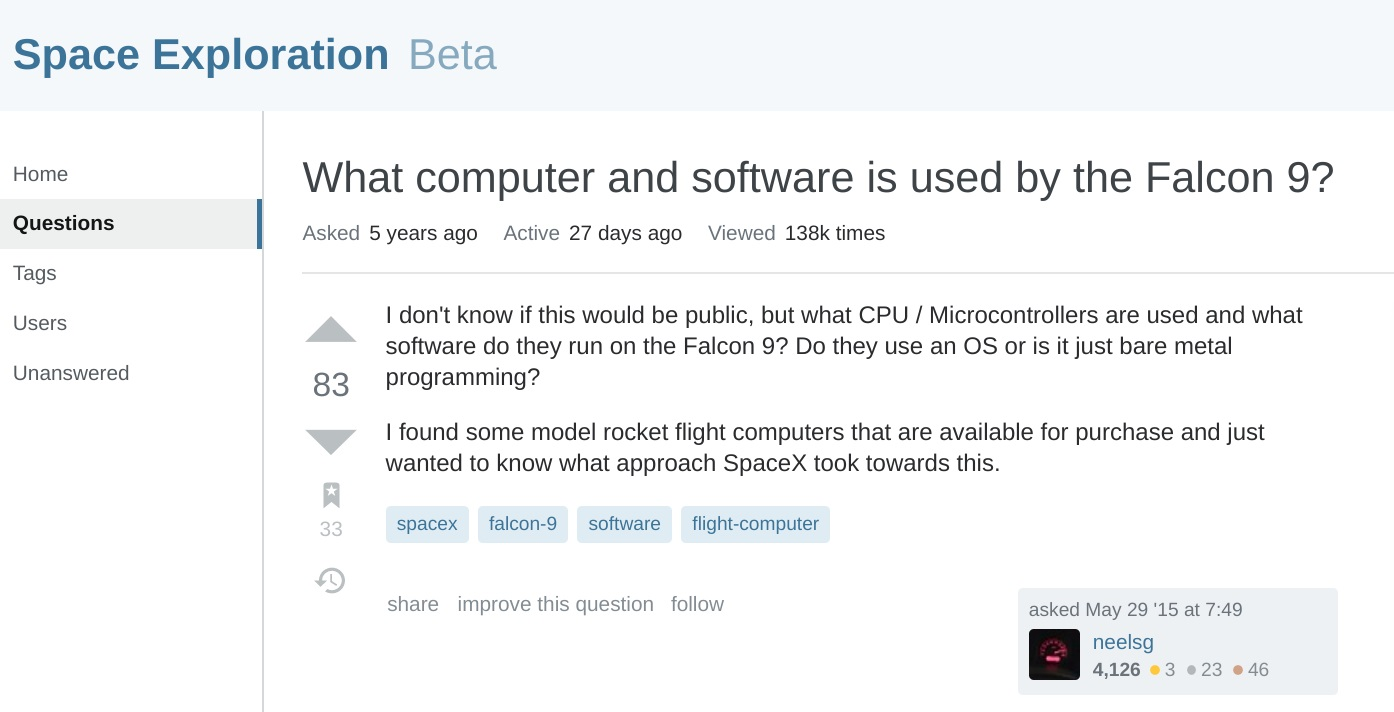 paceX的猎鹰、龙飞船基于Linux,采用C++、Chromium与JS开发