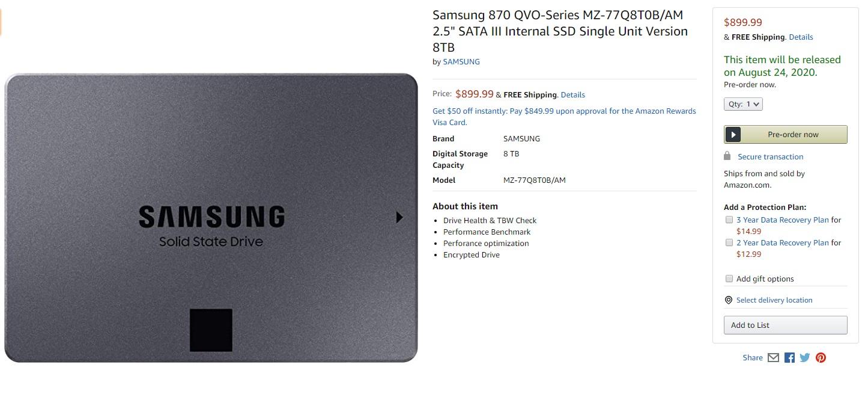 三星 870 QVO SSD 上架美亚,容量高达 8TB
