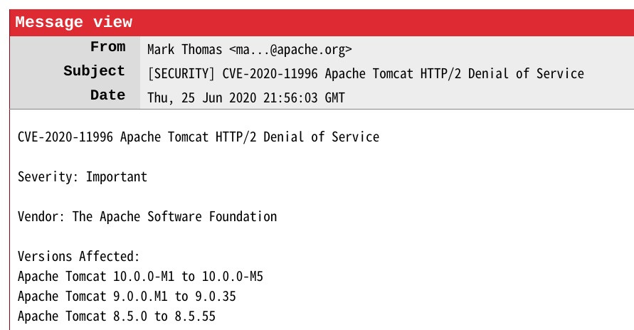 Apache Tomcat HTTP/2 DoS 漏洞,影响多个版本