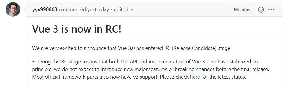 Vue.js 作者宣布 Vue 3 进入 RC 阶段,首个 RC 版本发布!